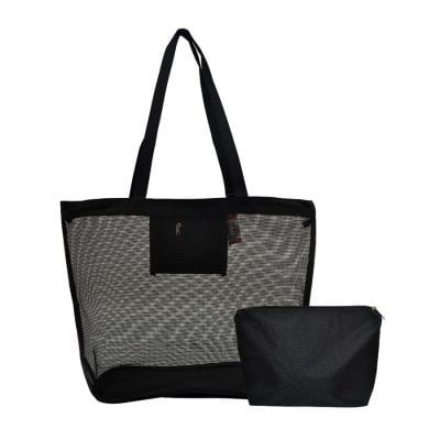 GG5 Mesh Shopping Bag with Pouch Black 995